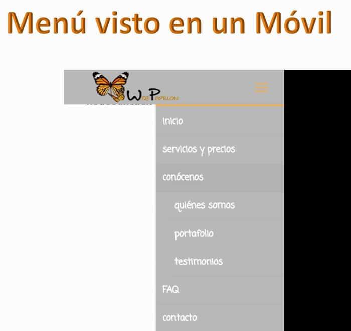 Menú Web Papillon vista en Móvil